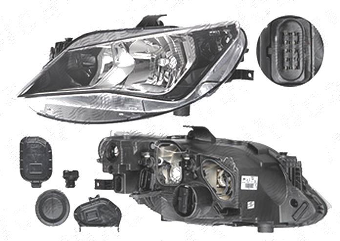 Far Seat Ibiza (6j), 04.2012-, fata, Stanga, H7+H7+PY21W+W5W; electric; fara motoras, DEPO