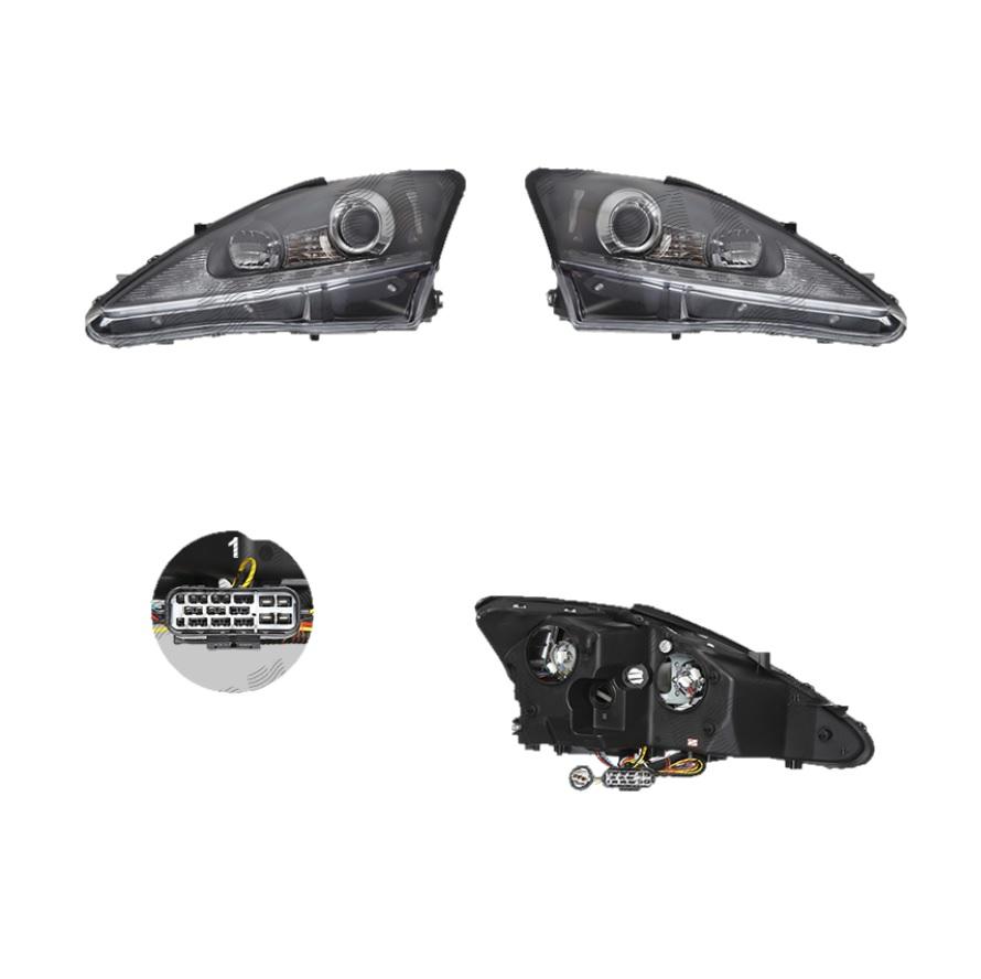 Far Lexus Is (Xe2), 11.2005-04.2013, fata, Stanga+Dreapta, xenon; lense; cu LED indicator; D2R+H1; manual/electric; negru; tuning; omologare: SAE, Taiwan
