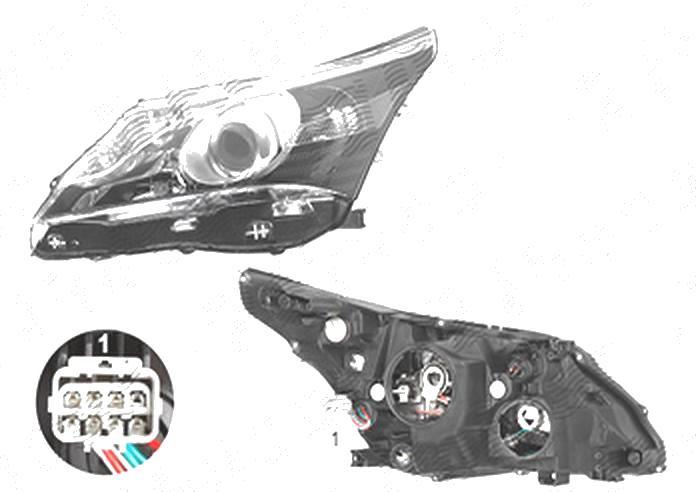 Far Toyota Avensis (T27), 01.2012-07.2015, fata, Stanga, cu LED daytime running light; H11+H9+W21/5W+WY21W; electric; fara motoras;