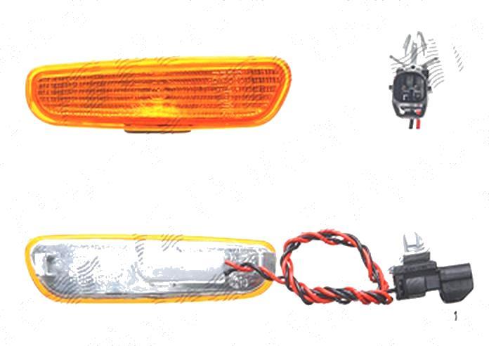 Lampa semnalizare Volvo S40/V40 (Vs/Vw), 07.1995-07.2000, fata/spate, Dreapta (fata), Stanga (spate), in bara; portocaliu; cu suport becuri; omologare: ECE/SAE, DEPO