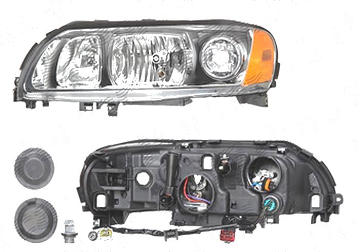 Far Volvo S60 (Rs/P24), 03.2004-03.2010; V70 (P80), 06.2004-03.2007; Xc70 (Sw), 05.2004-09.2007, fata, Stanga, H7+H9+PY21W+W5W; electric; grey reflector rim; fara motoras; tuning, DEPO