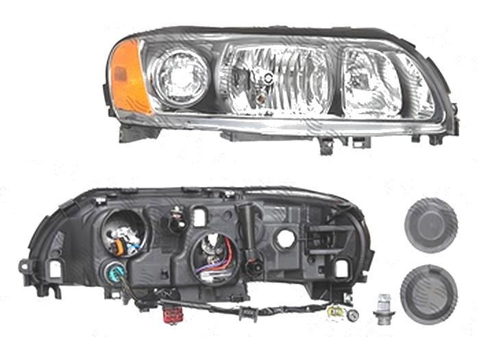 Far Volvo S60 (Rs/P24), 03.2004-03.2010; V70 (P80), 06.2004-03.2007; Xc70 (Sw), 05.2004-09.2007, fata, Dreapta, H7+H9+PY21W+W5W; electric; grey reflector rim; fara motoras, DEPO