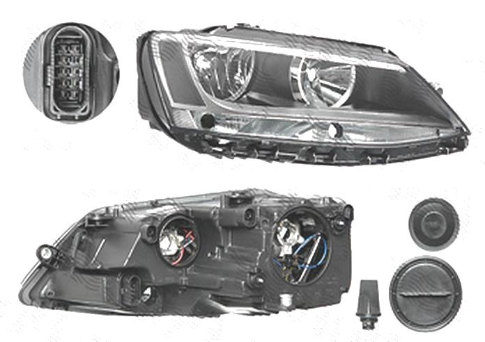 Far Volkswagen Jetta (1b), 07.2010-, fata, Dreapta, Tip= Hella; H7+H7+P21W+PY21W; electric; cu motor, DEPO