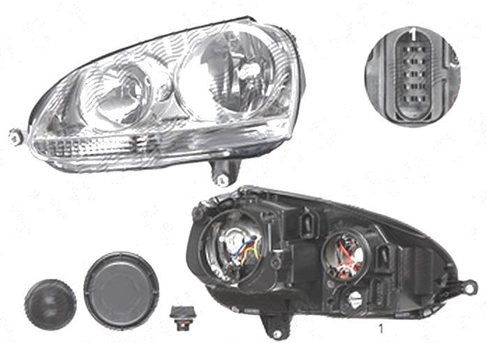 Far Volkswagen Golf 5 (1k), 10.2003-05.2009; Jetta/Golf Combi (1k5/1km), 09.2005-09.2010, fata, Stanga, H7+H7+PY21W+W5W; electric; silver; cu motor, DEPO