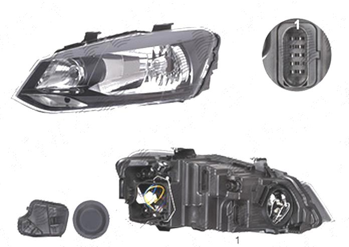 Far Volkswagen Polo (6r), 08.2009-04.2014, fata, Stanga, H4; electric; fara motoras, DEPO