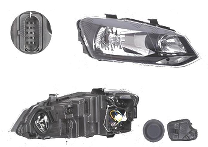 Far Volkswagen Polo (6r), 08.2009-04.2014, fata, Dreapta, H4; electric; cu motor, DEPO