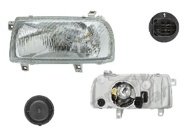 Far Volkswagen Vento (1h2/1h5/1hm), 01.1992-10.1998, fata, Stanga, H4+W5W; manual/electric; fara motoras, DEPO