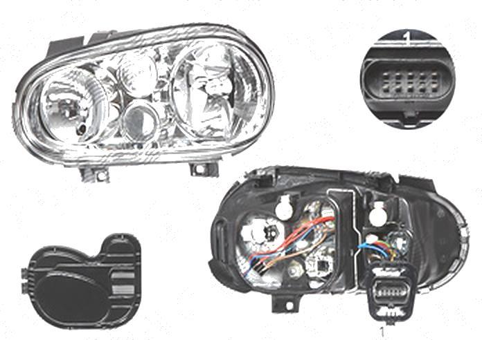 Far Volkswagen Golf 4 (1j) (Hb + Combi), 08.1997-09.2006; Golf 4 Cabriolet (1exo), 04.1998-10.2003 , fata, Stanga, cu Proiector ceata; H1+H3+H7+PY21W+W5W; manual/electric; fara motoras;