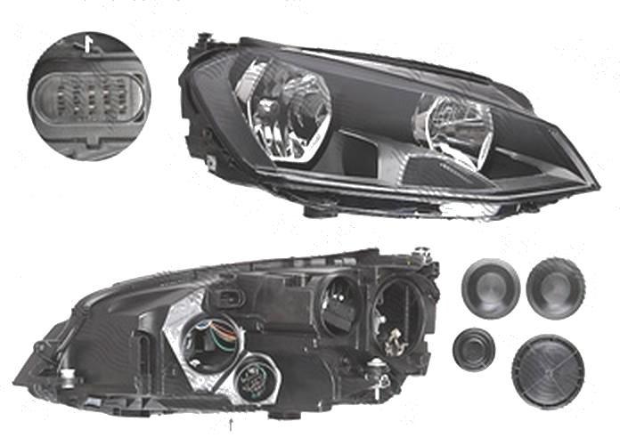 Far Volkswagen Golf 7 (5k), 10.2012-03.2017, fata, Dreapta, cu daytime running light; H15+H7+PWY24W; electric; cu motor, DEPO