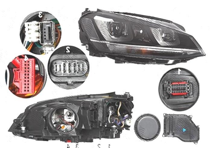 Far Volkswagen Golf 7 (5k), 10.2012-03.2017, fata, Dreapta, bi-xenon; cu dynamic cu lumini de curbe; cu LED daytime running light; D3S+H7; electric; fara unitate control; fara ballast; cu motor, DEPO