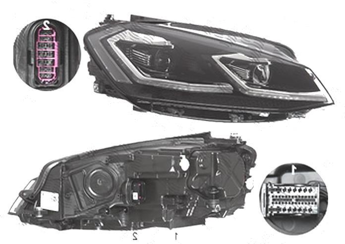 Far Volkswagen Golf 7 (5k), 03.2017-, fata, Dreapta, cu static cu lumini de curbe; cu LED daytime running light; LED; electric; cu motor;
