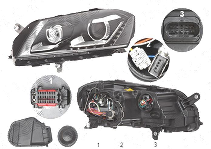 Far Volkswagen Passat (B7 (36)), 11.2010-, fata, Stanga, cu lumini de curbe; xenon; cu LED daytime running light; D3S+LED+PSY24W; electric; fara unitate control; fara ballast; cu motor;