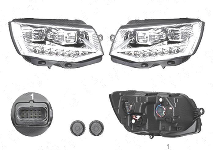 Far Volkswagen Transporter/Multivan (T6), 04.2015-, fata, Stanga+Dreapta, lense; cu LED indicator; cu LED daytime running light; cu LED-uri pozitie; H1+H11+LED; electric; silver; cu motor; cu becuri; tuning, Taiwan
