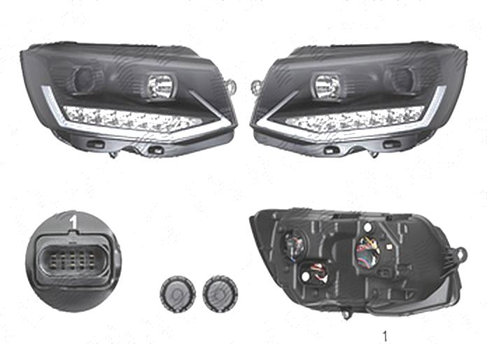 Far Volkswagen Transporter/Multivan (T6), 04.2015-, fata, Stanga+Dreapta, lense; cu LED indicator; cu LED daytime running light; cu LED-uri pozitie; H1+H11+LED; electric; negru; cu motor; cu becuri; tuning, Taiwan