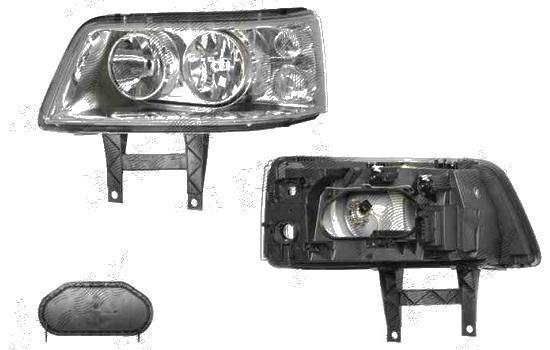 Far VW T5 Multivan 04.2003-10.2009 DEPO partea Dreapta, tip bec H1+H7, culoare argintiu, cu prinderi panou frontal