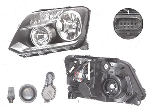 Far Vw Amarok (N817), 01.2010-04.2012, Electric, tip bec H15+H7, omologare ECE, cu motor, Stanga, marca Depo