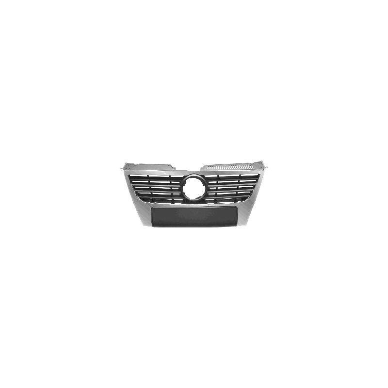 Grila radiator VW Passat, Sedan+Combi (B6 (3C)), 01.2005-07.2010, negru, cu ornament cromat, cu diametru emblema de 150 mm, Model HIGHLINE