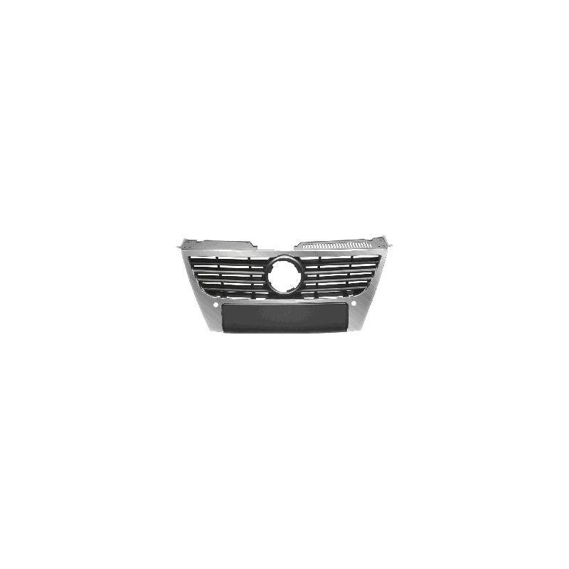 Grila radiator VW Passat, Sedan+Combi (B6 (3C)), 01.2005-07.2010, negru, cu gauri pentru senzori de parcare, cu ornament cromat, cu diametru emblema de 150 mm, Model HIGHLINE