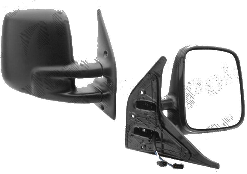 Oglinda exterioara VW Transporter (T4)/Caravelle/Multivan 07.1990-03.2003 Partea Dreapta Crom Convex Electrica Fara Incalzire, carcasa neagra, 4 pini, View Max