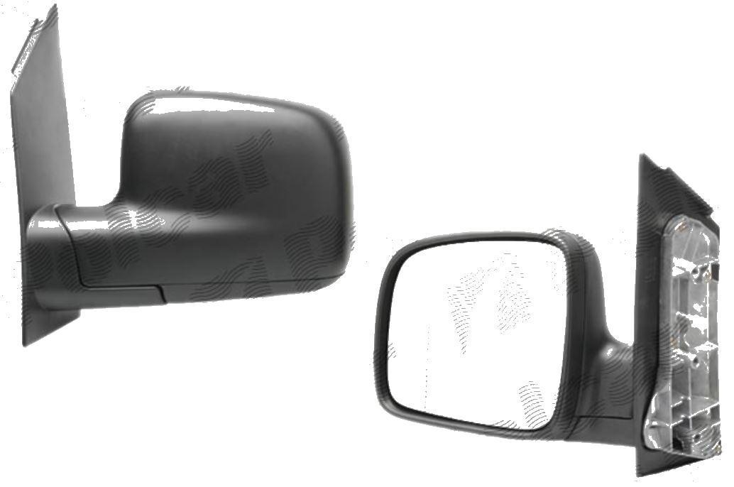 Oglinda exterioara VW Caddy 3/Life (2K) 03.2004-06.2015, Caddy (2K) 06.2015- (Model Furgon/BUS), Partea Stanga Crom Asferica Manuala Fara Incalzire, carcasa neagra, View Max