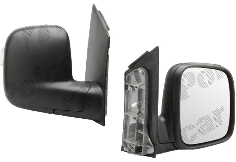 Oglinda exterioara VW Caddy 3/Life (2K) 03.2004-06.2015, Caddy (2K) 06.2015- (Model Furgon/BUS), Partea Dreapta Crom Convex Manuala Fara Incalzire, carcasa neagra, View Max