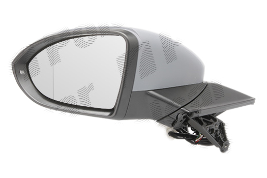 Oglinda exterioara Vw Golf 7 (5k), 10.2012-, partea Stanga, culoare sticla crom, sticla asferica, cu carcasa grunduita, cu incalzire, ajustare electrica
