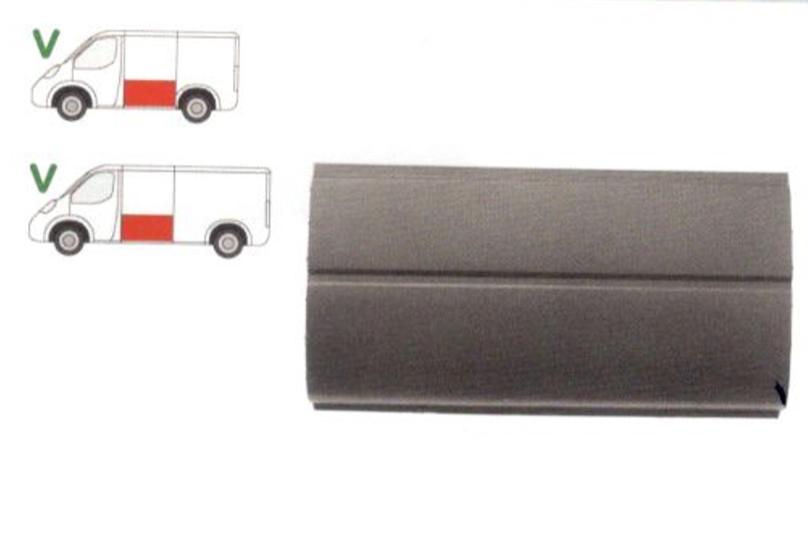 Segment reparatie panou lateral Ford Transit (Ve6/Ve64/Ve83) 10.1985-2000 , partea Stanga, Partea Inferioara,Metal,Segment Lat, Inaltime 610 Mm, Cu 2 Cute,