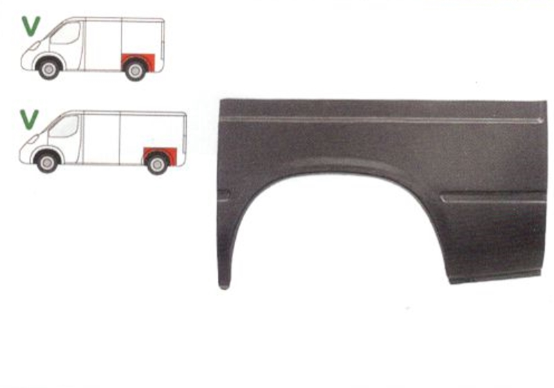 Aripa spate Ford Transit 1986-1991 Partea Stanga, Punte Simpla , Marime 1/3 , Lungime 1100 mm, Inaltine 615 mm,