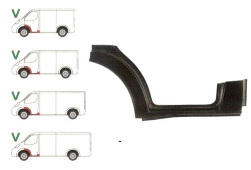 Prag Ford Transit (V184/5) 05.2000-04.2006 sub Usa Fata Stanga , 1/3 segment aripa fata interior si 1/3 stalp, prag din metal
