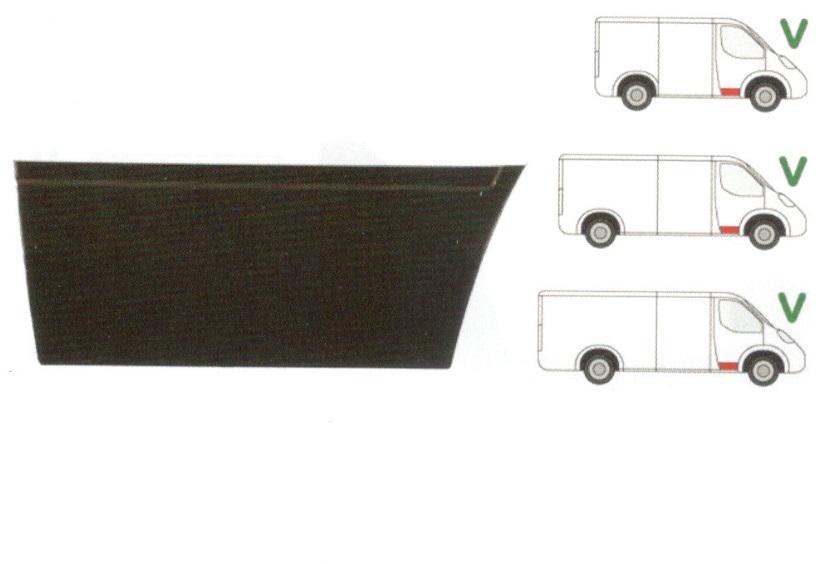 Panou reparatie usa Mercedes SPRINTER 208-416 (W901-905), 01.1995-2006, VW LT II 05.1996-2005 ; modele Scurt/Mediu/Lung, partea dreapta, usa fata, inaltime 310 mm;inferior ,