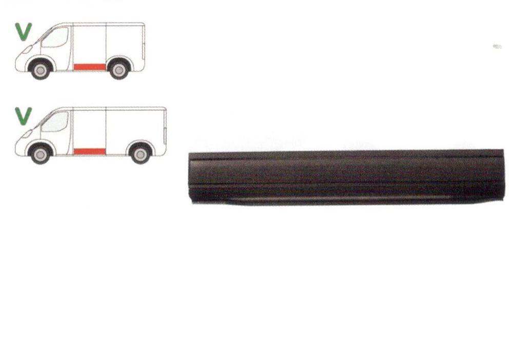 Segment reparatie panou lateral Vw Transporter (T4)/Caravelle/Multivan 07.1990-03.2003 , partea Stanga, Inferior, Metal,Lungimea 1395 Mm,Inaltimea 220mm ,Cu O Nervura, Pt Modele Scurt/Mijlociu,