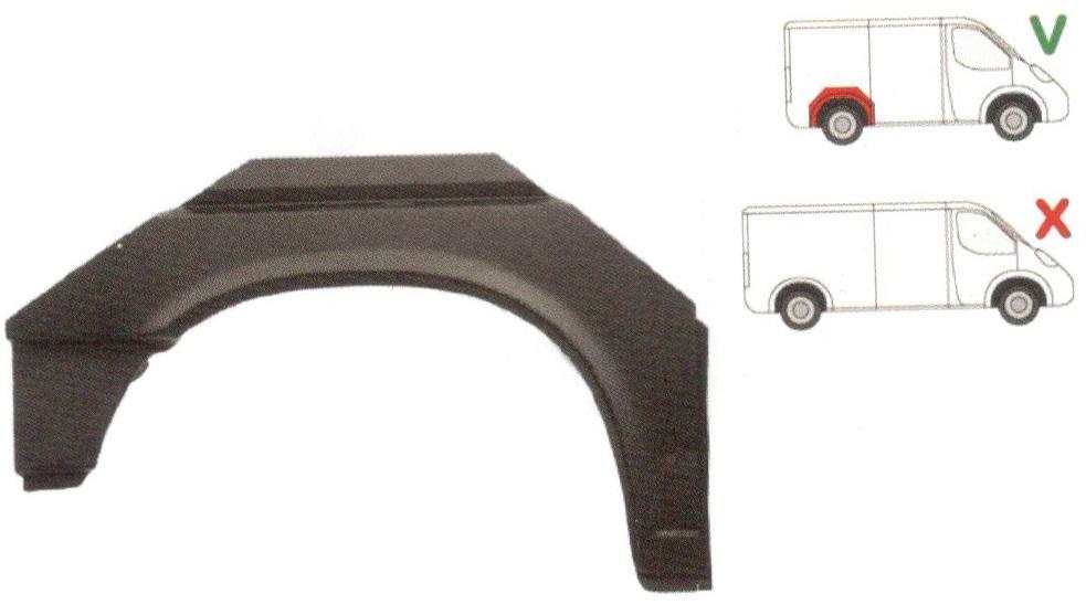 Segment reparatie aripa spate Vw Transporter T4, 1990-2003, Scurt Partea Dreapta, Spate, (pentru modelul scurt)