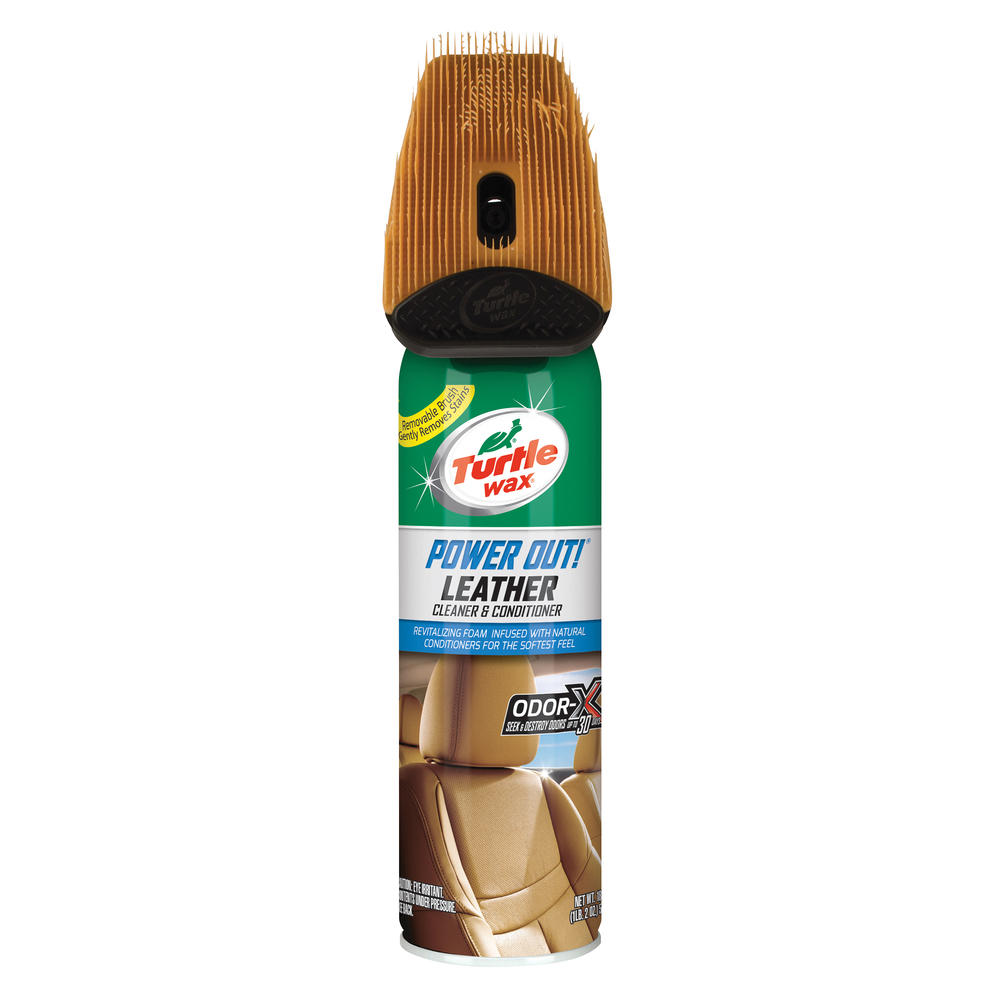 Spray curatare si intretinere tapiterie din piele, cu perie Turtle Wax Power Out Leather 400ml