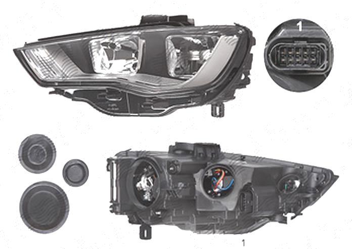 Far Audi A3 (8v), 06.2012-07.2016, fata, Stanga, cu daytime running light; H15+H7+PWY24W+W5W; electric; cu motor, TYC