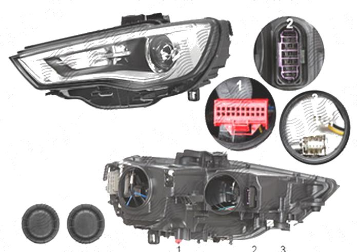 Far Audi A3 (8v), 06.2012-07.2016 Model 3 Usi, Sportback, fata, Stanga, bi-xenon; cu LED daytime running light; D3S+LED+PSY24W; electric; fara unitate control; fara ballast; fara LED controlling unit; cu motor, DEPO