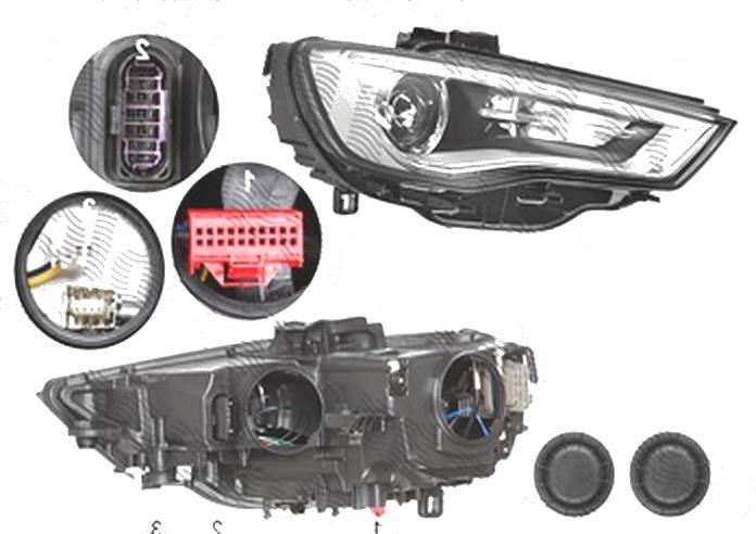 Far Audi A3 (8v), 06.2012-07.2016 Model 3 Usi, Sportback, fata, Dreapta, bi-xenon; cu LED daytime running light; D3S+LED+PSY24W; electric; fara unitate control; fara ballast; fara LED controlling unit; cu motor, DEPO