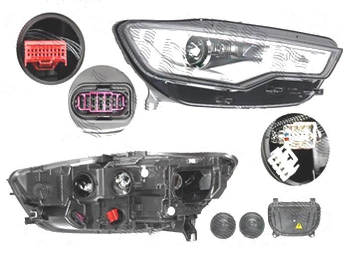 Far Audi A6 (4g/C7), 01.2011-06.2014, fata, Dreapta, bi-xenon; cu lumini de curbe; cu LED daytime running light; D3S+H7+LED+PSY24W; electric; fara ballast; cu motor, DEPO