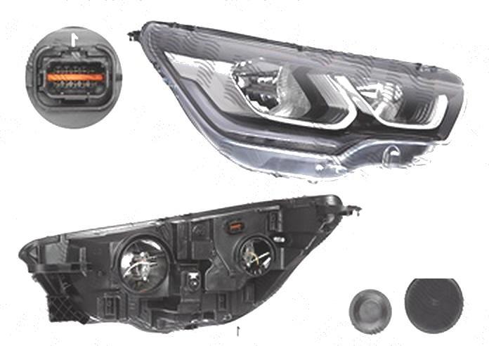 Far Citroen C4 (B7), 04.2014-; Ds4, 07.2014-, fata, Dreapta, cu LED daytime running light; H7+H7; electric; cu motor;