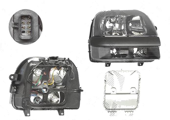 Far Fiat Doblo (119/223), 01.2001-12.2005, fata, Dreapta, Tip= Carello; H1+H7; electric; fara motoras, DEPO