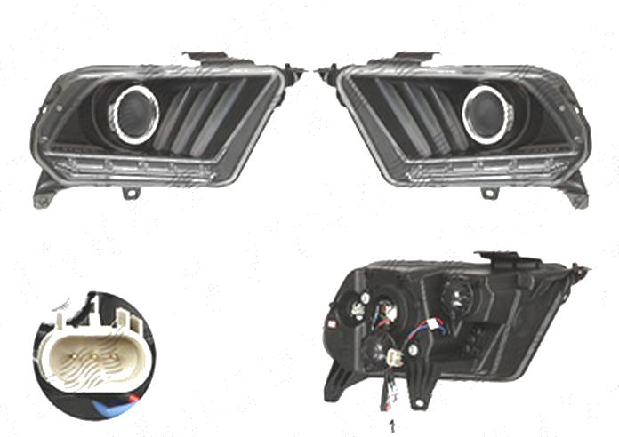 Far Ford Mustang, 02.2009-01.2015, fata, Stanga+Dreapta, doar tip halogen, semnalizare dinamica; cu LED indicator; H1; manual; negru, transparent; tuning; omologare: SAE, Taiwan
