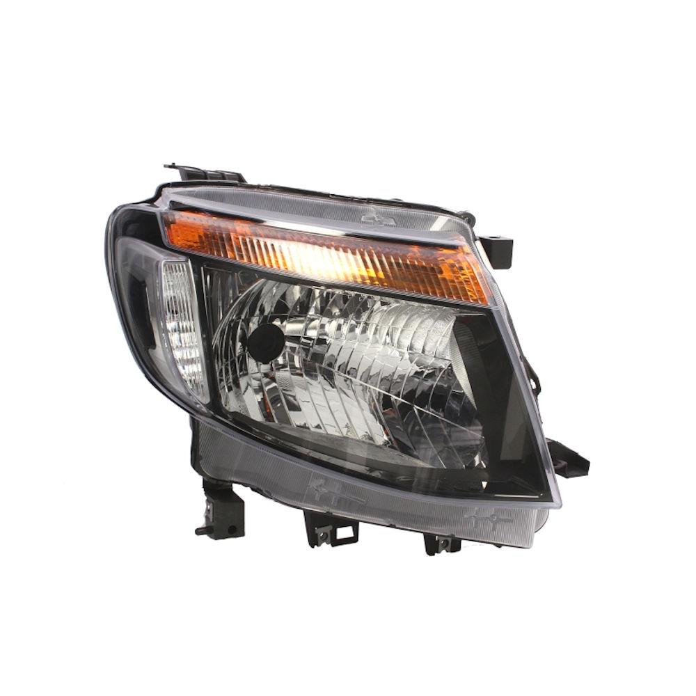 Far Ford Ranger, 04.2011-05.2016, partea Dreapta, manual/electric, tip bec H4, fara lumini de zi, negru, fara motoras, Depo