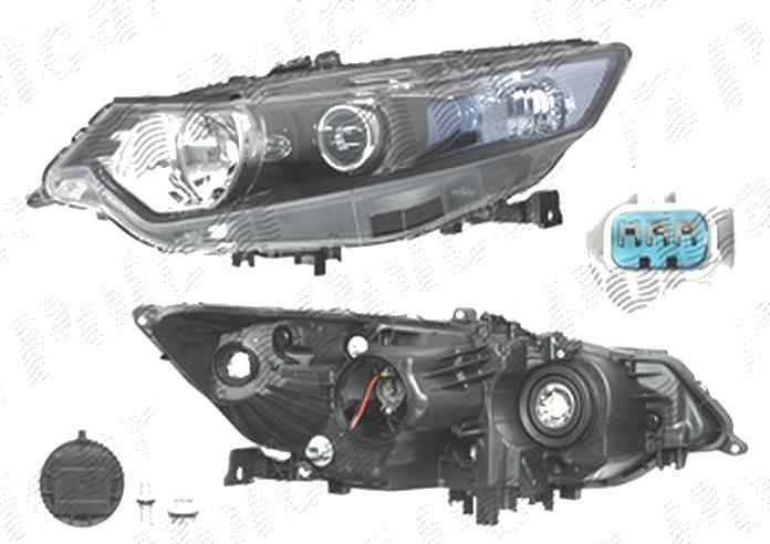 Far Honda Accord (Cu2), 03.2008-03.2011, fata, Stanga, versiune europeana, H1+HB3; electric; semnalizare alba; fara motoras, DEPO