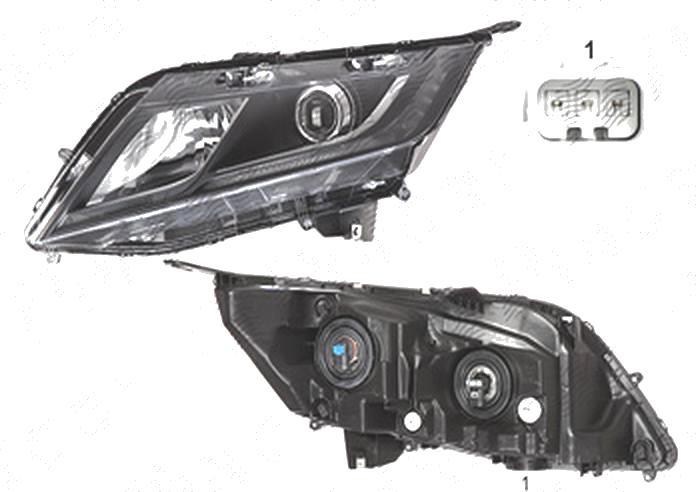 Far Honda Odyssey (Rl5), 06.2010-, fata, Stanga, 2018-, cu LED daytime running light; Tip= USA; H11+HB3; manual; omologare: SAE;