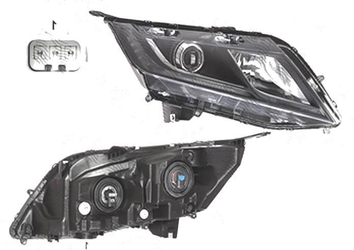 Far Honda Odyssey (Rl5), 06.2010-, fata, Dreapta, 2018-, cu LED daytime running light; Tip= USA; H11+HB3; manual; omologare: SAE;