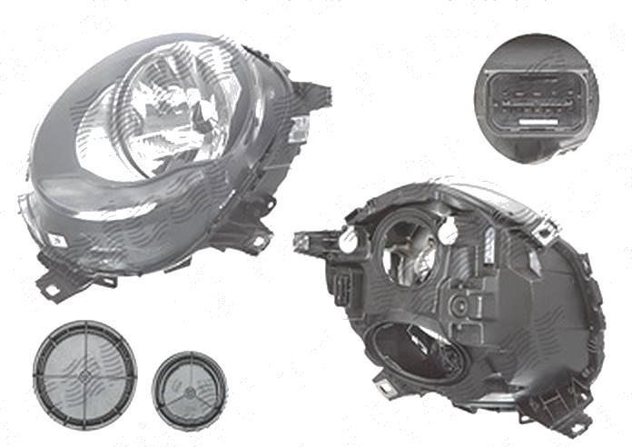 "Far Mini One/Cooper/S, 02.2014-, fata, Stanga, fara ""Mini"" inscription; H4+PWY24W; electric; semnalizare alba; cu motor; TYC"