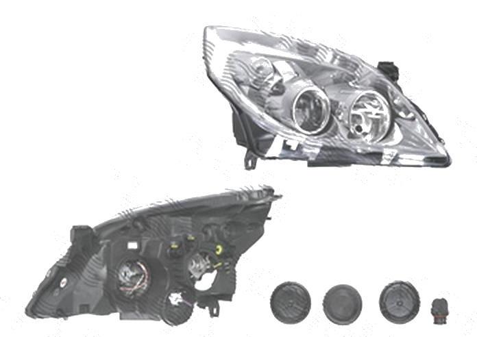 Far Opel Vectra C, 09.2005-09.2008; Signum, 09.2005-08.2008, fata, Dreapta, H1+H7; electric; rama reflector argintie; fara motoras, DEPO