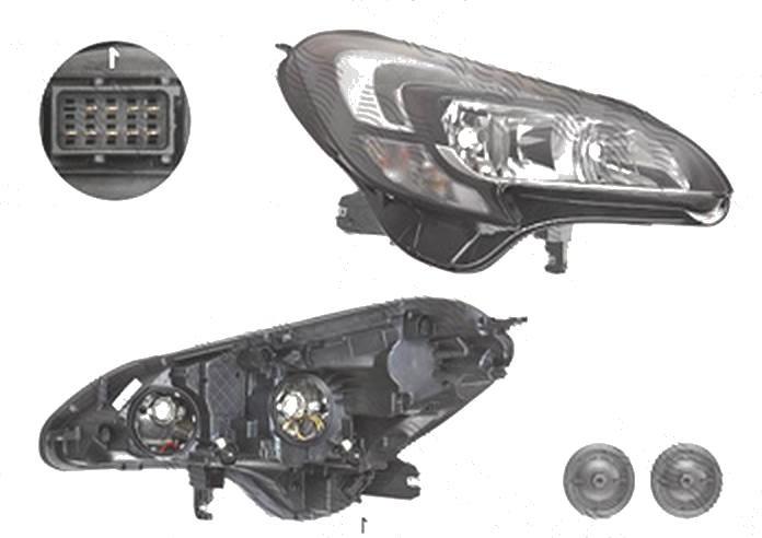 Far Opel Corsa E, 11.2014-, fata, Dreapta, cu LED daytime running light; H7+H7+PSY24W; electric; cu motor;