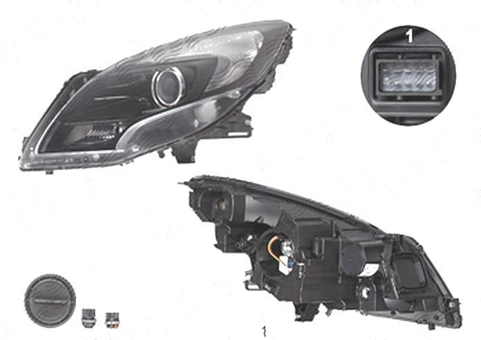 Far Opel Zafira Tourer, 01.2012-, fata, Stanga, HiR2+PY21W+W21/5W; electric; negru; cu motor, DEPO