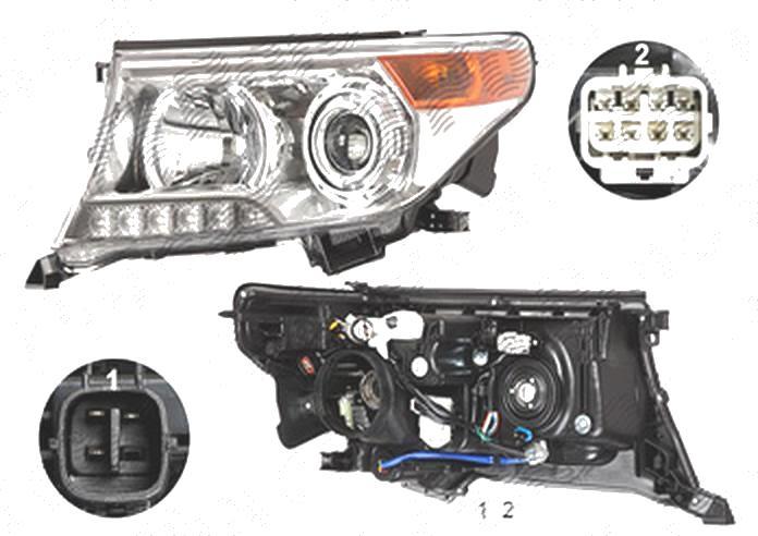 Far Toyota Land Cruiser V8 (Fj200), 01.2012-08.2015, fata, Stanga, xenon; cu LED daytime running light; D4S+HB3+LED+WY21W; electric; fara unitate control; fara ballast; cu motor, TYC