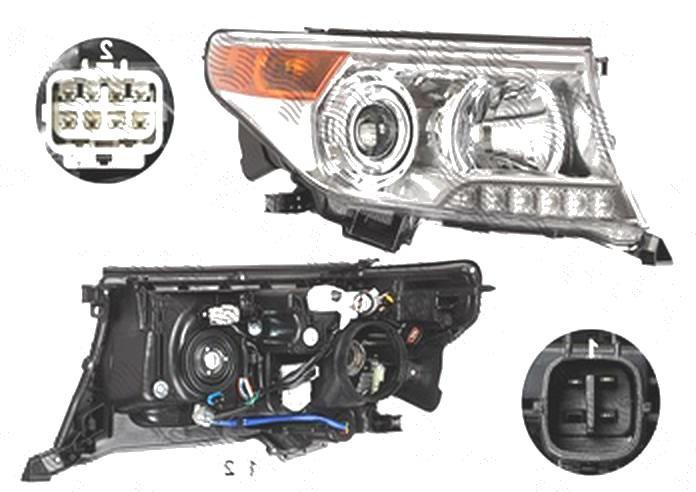 Far Toyota Land Cruiser V8 (Fj200), 01.2012-08.2015, fata, Dreapta, xenon; cu LED daytime running light; D4S+HB3+LED+WY21W; electric; fara unitate control; fara ballast; cu motor, TYC